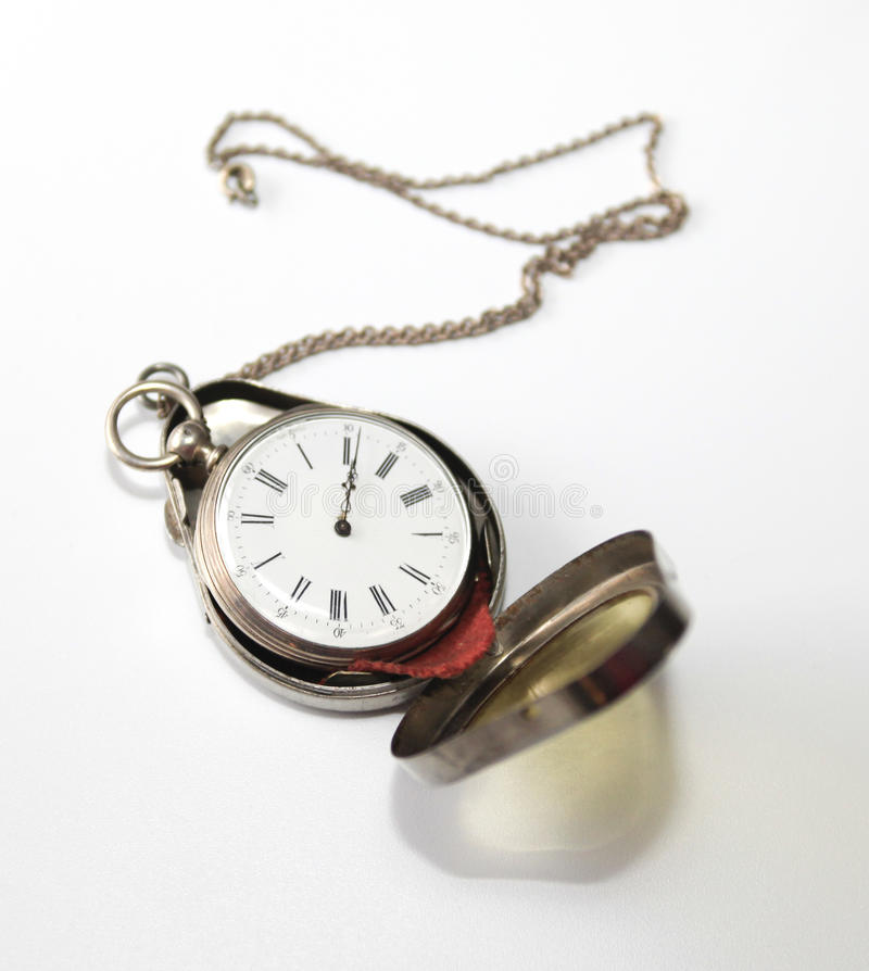 Antique pocketwatch in case stock photos
