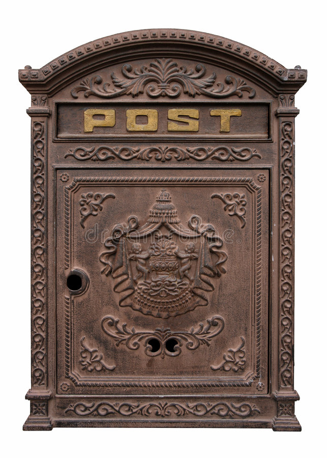 Antique postbox. An antique postbox isolated on white. Clipping path included stock photos