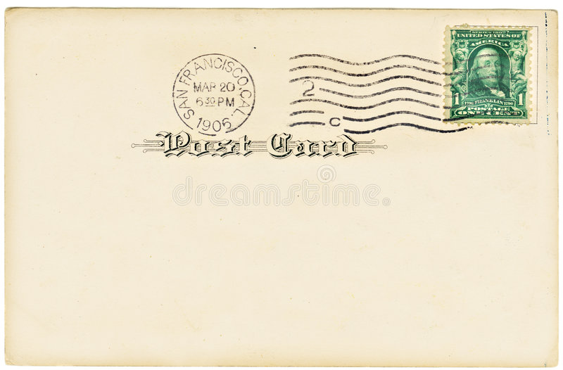 Antique Postcard. Vintage postcard with a one cent stamp. Room to add your own message royalty free stock photo