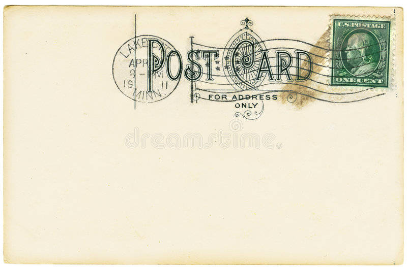 Antique Postcard. Vintage postcard with a one cent stamp. Room to add your own message royalty free stock images