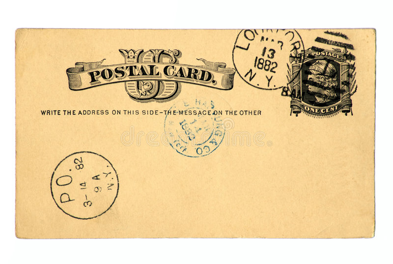 Antique Postcard Dated 1882. This pre-printed 19th century US postcard includes a Liberty one cent stamp. Recipient's address has been removed for your personal stock images
