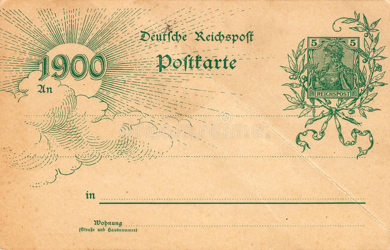 Antique Postcard With Stamp And Date 1900 Stock Image