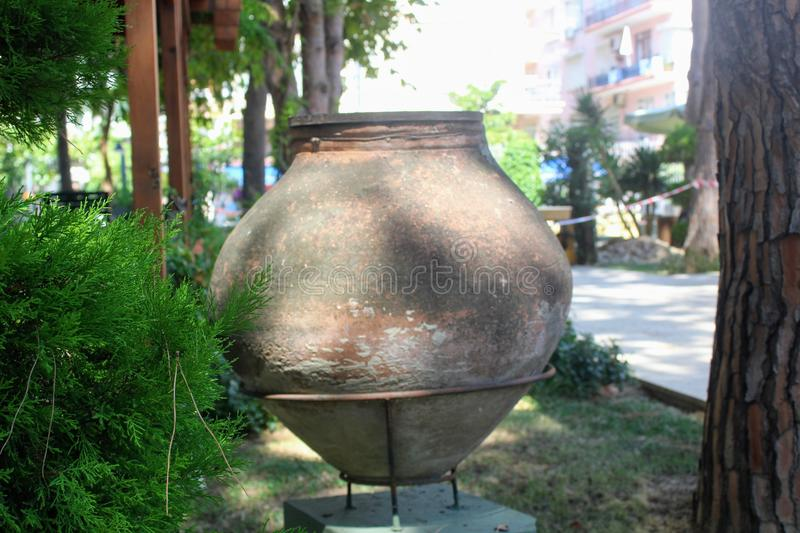 Antique pots and amphoras - an exhibition in the courtyard of the Alanya Archaeological Museum Turkey.  stock image