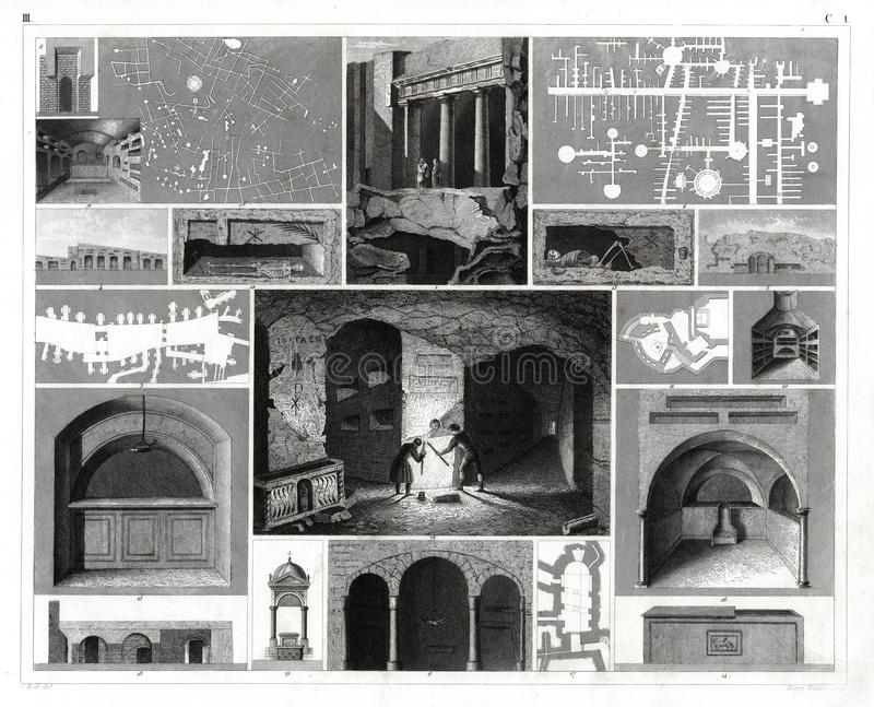1874 Antique Print of the Catacombs in Rome, Italy. It is an antique German atlas print of the various catacombs in and around Rome including plans and interior royalty free illustration