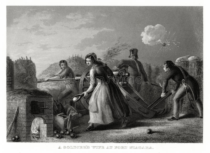 1860 Antique Print: A Soldier`s Wife at Fort Niagara, War of 1812 by T. Walker. A scene of the Battle of Niagara in New York illustrating the heroic role of the royalty free illustration