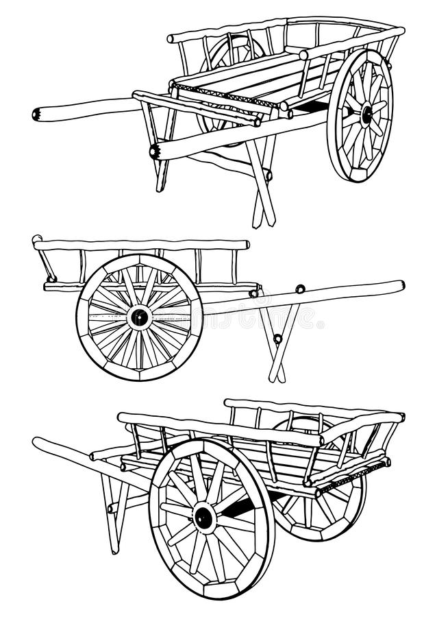 Download Antique Pushcart Vector 01 stock vector. Image of push - 17059371
