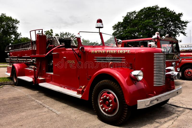 Antique Racine Wisconsin Firetruck at Local Car Show. Mount Pleasant, Wisconsin / USA - July 21, 2019: An antique out of service Racine Fire Department fire stock image