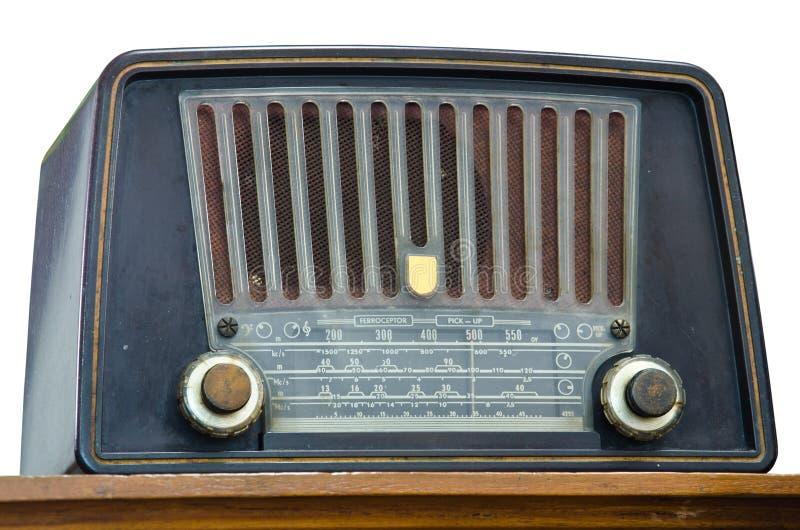 Antique radio. On a white background royalty free stock image