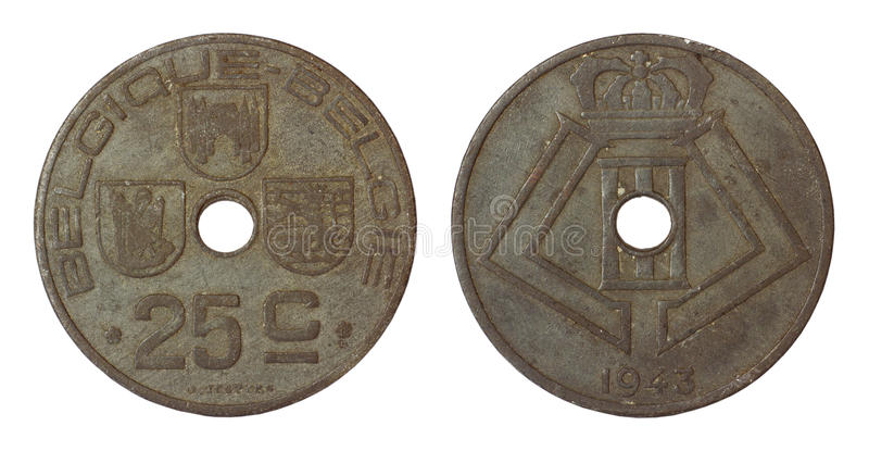 Antique rare coin of belgium. Isolated on white background stock photography