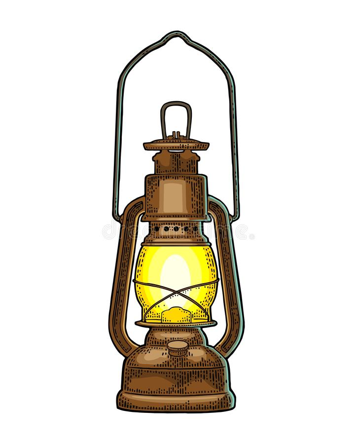 Free Antique Retro Gas Lamp. Vintage Color Engraving Illustration Stock Photography - 100839432