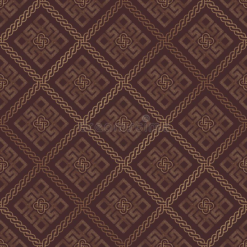 Antique rhombic ornament with gold thread on brown background. Seamless vector texture stock illustration