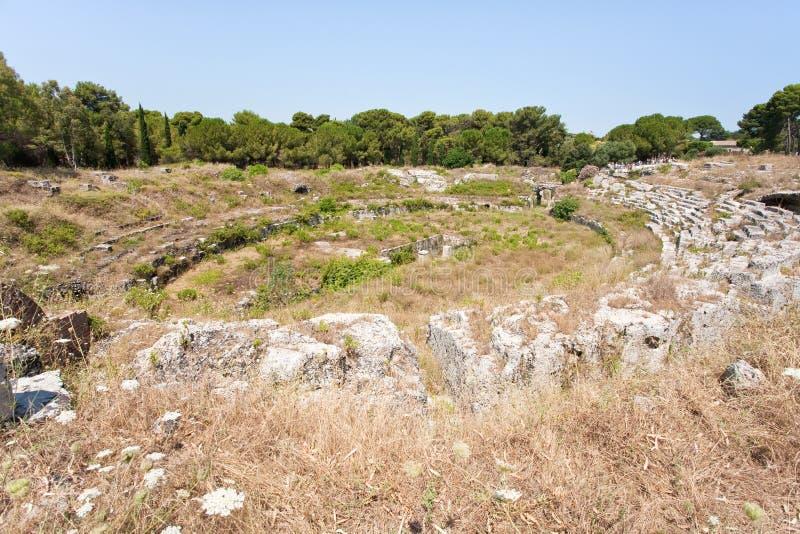 Antique Roman amphitheater in Syracuse, Sicily