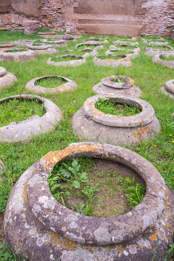 Antique roman jars, archeological site royalty free stock image