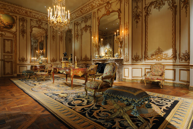 Antique Room. An early 19th century period room decorated with antique French furniture in the Metropolitan Museum of Art in New York City