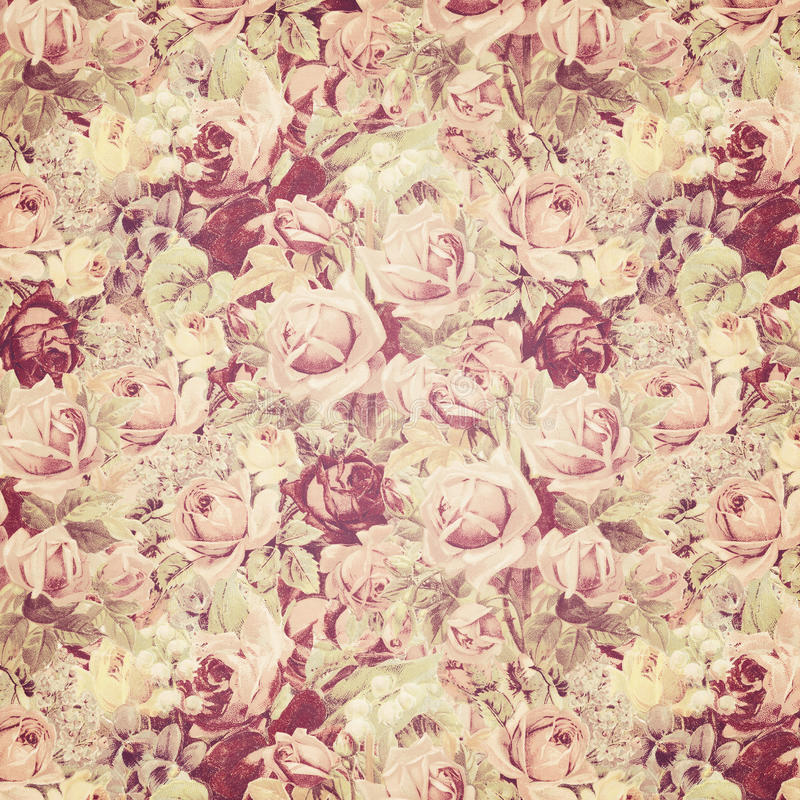 Antique Roses Wallpaper. Victorian rose wallpaper in pinks and tans stock photography