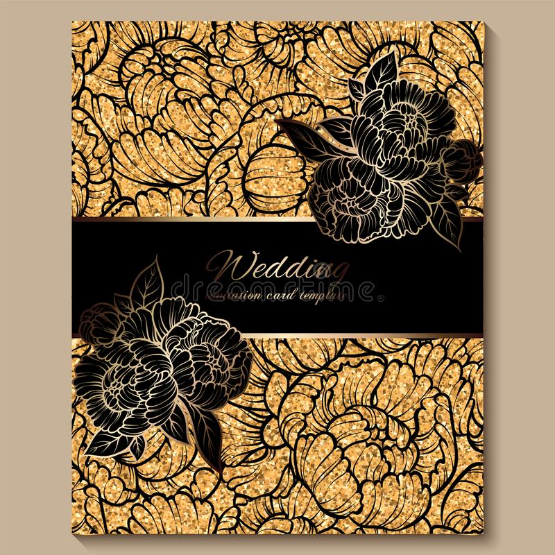 Antique royal luxury wedding invitation card, golden glitter background with frame and place for text, black lacy foliage made of vector illustration