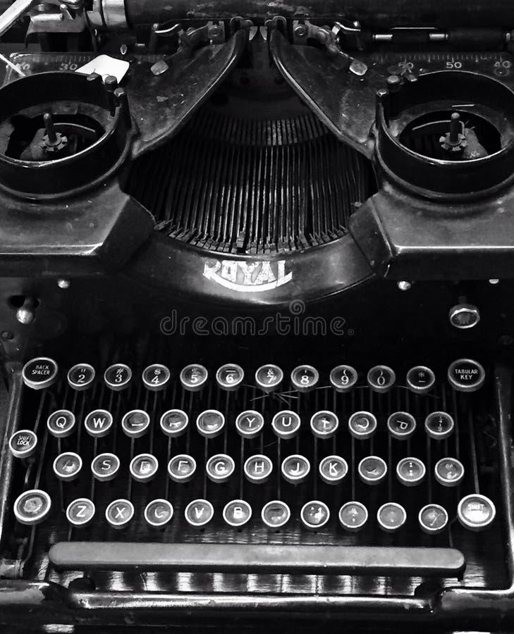 Antique Royal Typewriter. An antique Royal typewriter in black and white stock photos