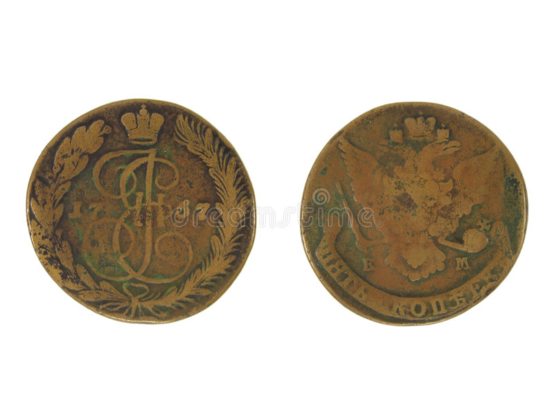 Antique Russian Coin of 1767. Antique Russian five kopecks coin of 1767. Both front and back sides isolated on white background stock image