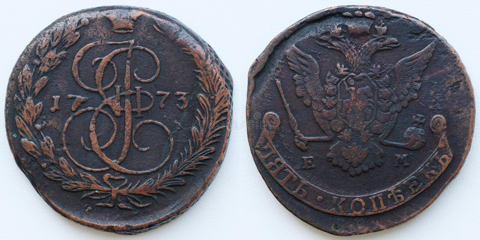 Antique russian coin 5 kopecks 1773. Eagle EM dark brown copper both sides stock image