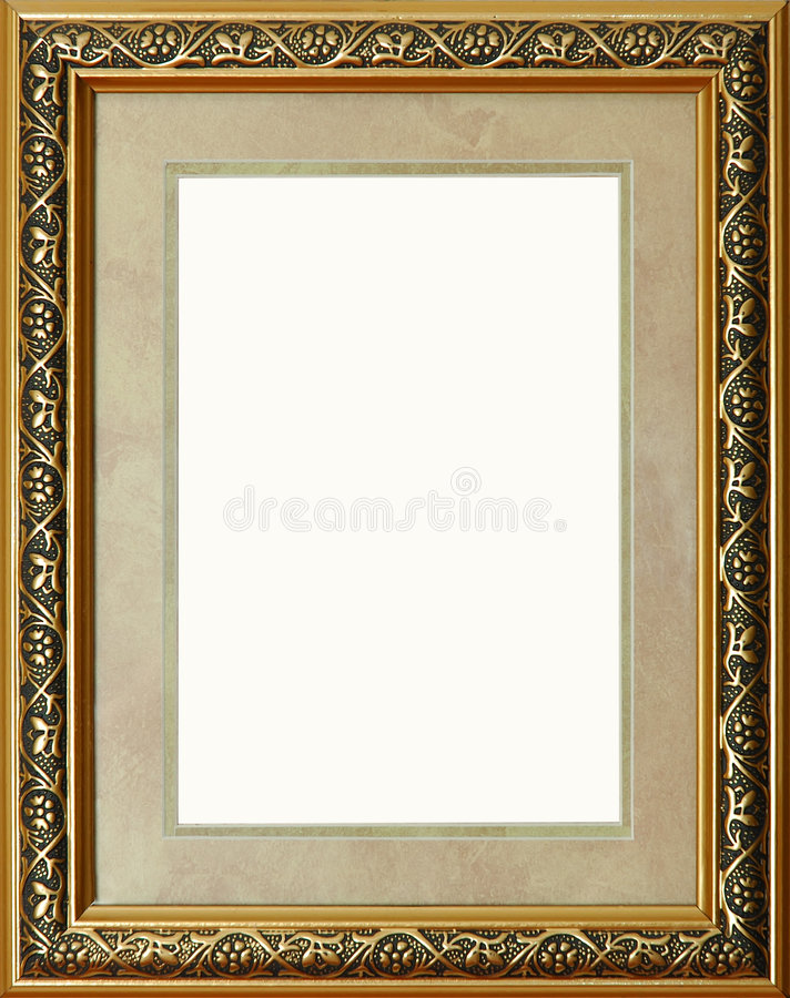 Download Antique Rustic Golden Picture Frame Isolated Stock Image - Image of aureate, empty: 973925