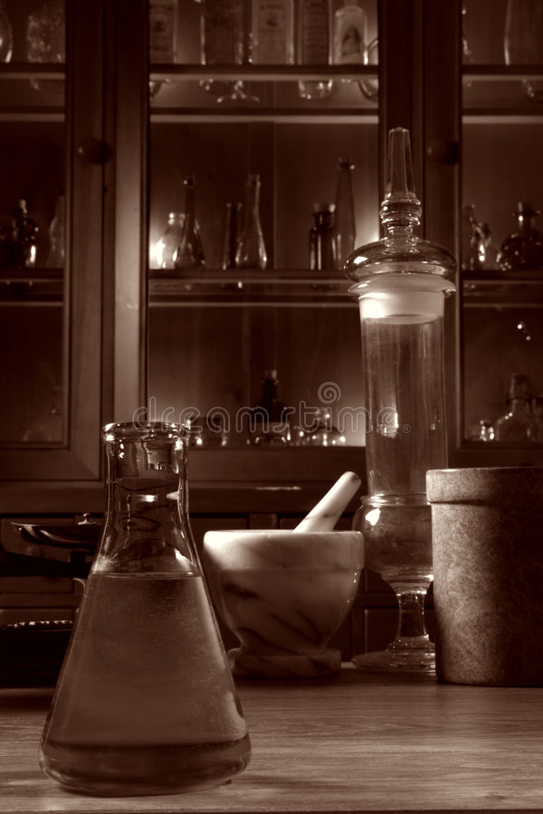 Antique Science Research Lab with Old Glassware stock image