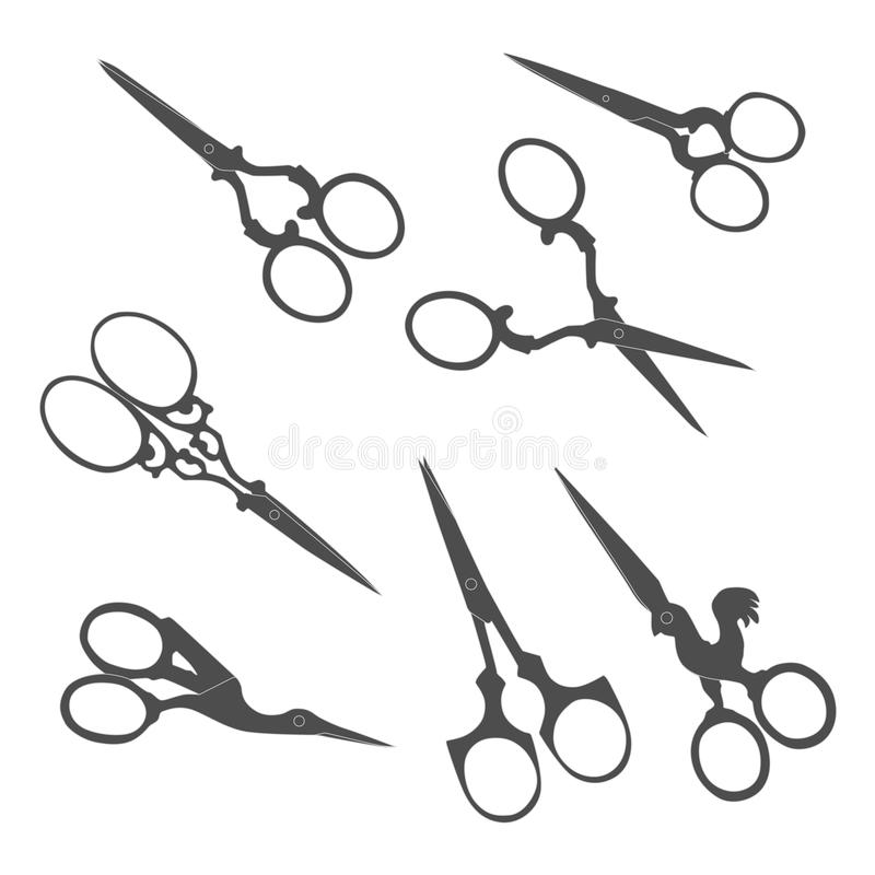 Antique scissors. Collection of vintage accessories. vector illustration
