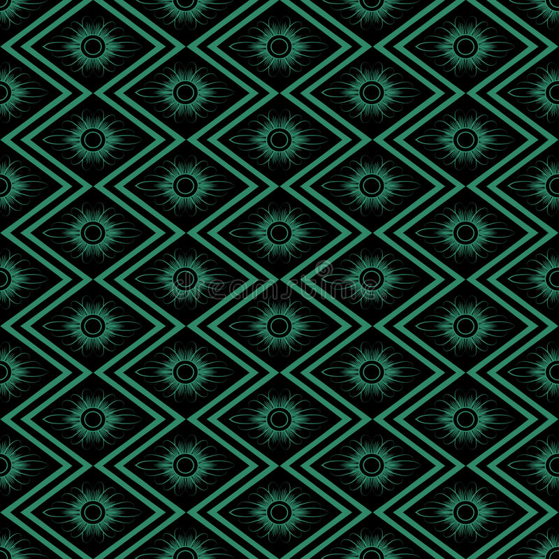 Antique seamless background rhomb check sawtooth cross frame flo. Wer can be used for both print and web page royalty free illustration