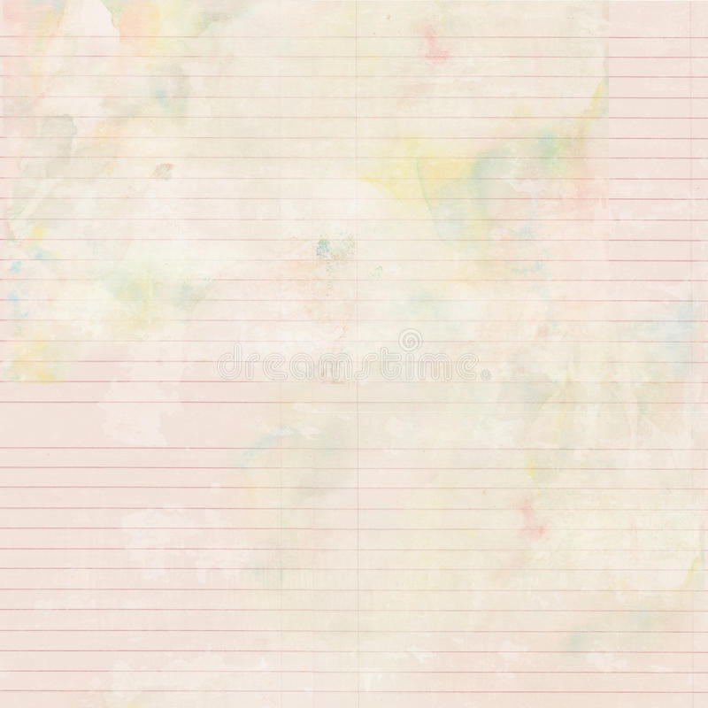 Antique shabby watercolor lined stationary paper background. Pink Antique shabby watercolor ruled stationary paper background with space for text stock photography