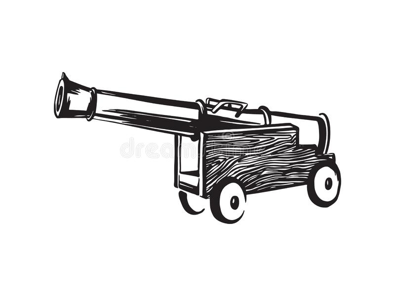 Antique ship pirate cannon. Hand drawn sketch illustration. Vector black ink drawing isolated on white background royalty free illustration