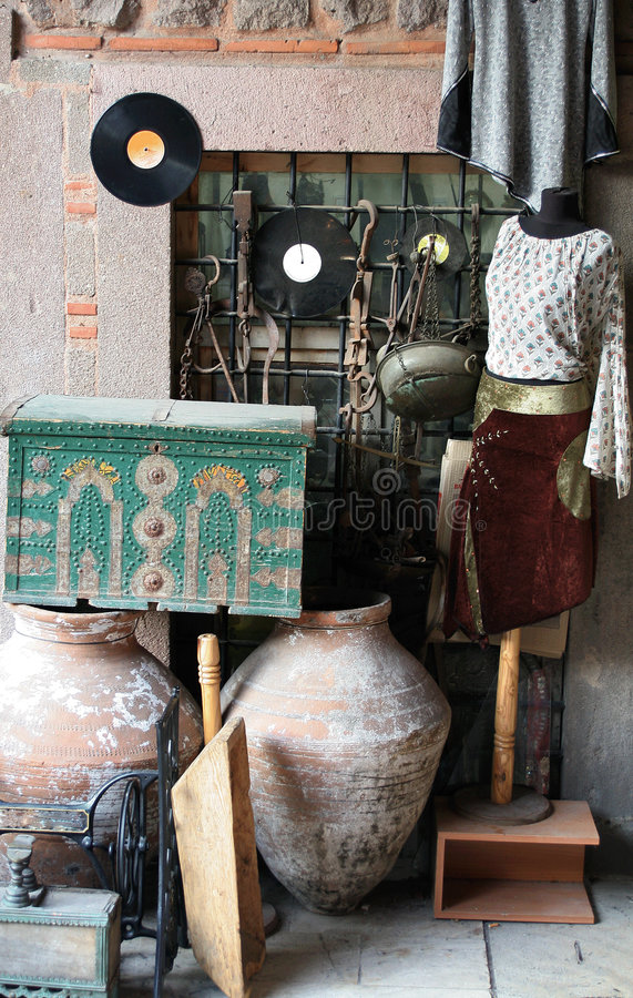 Antique shop. Image of a antique shop and some goods on display royalty free stock photo