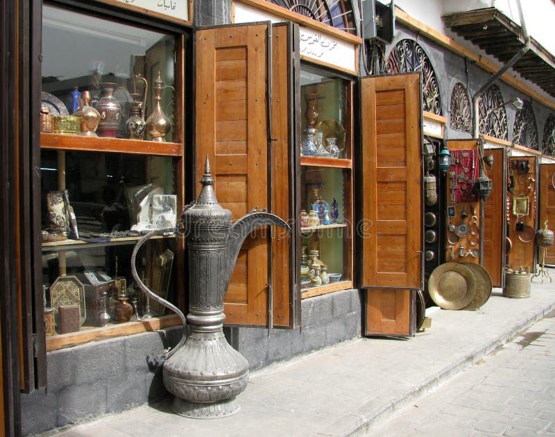 Antique shop in Damascus Citadel stock image