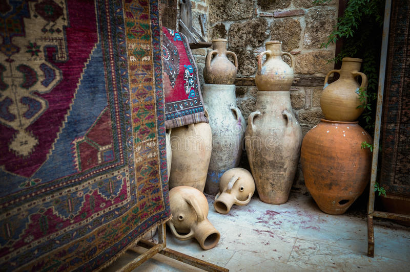 Antique shop in Turkey stock photography