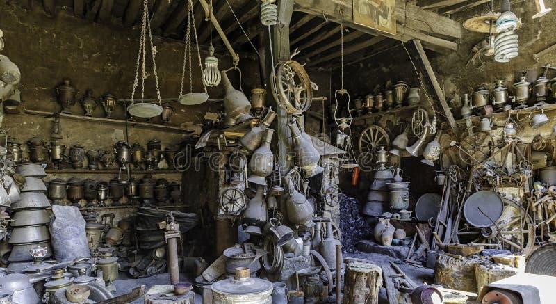 Antique shop in the village household items Lahij Azerbaijan. Travel royalty free stock photo