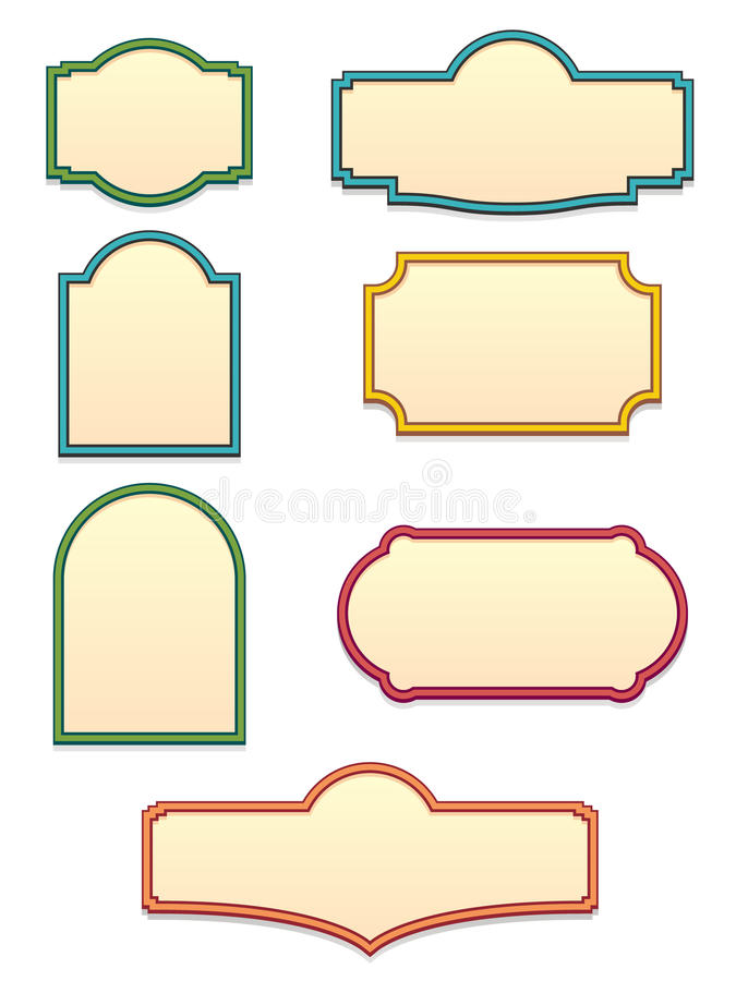 Antique Sign Templates EPS. A set of seven classic antique sign shapes to be used as templates. Available in vector EPS format royalty free illustration