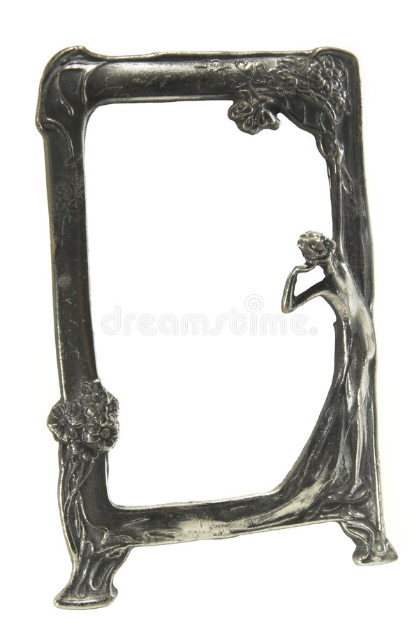 Antique silver art deco picture frame royalty free stock photo