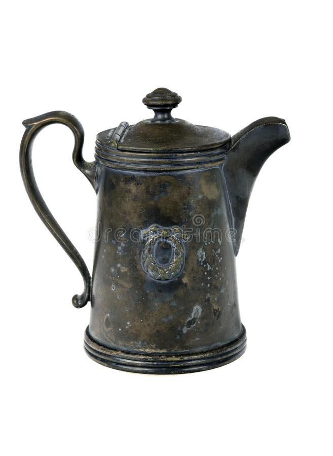 Antique silver coffee pot stock photography