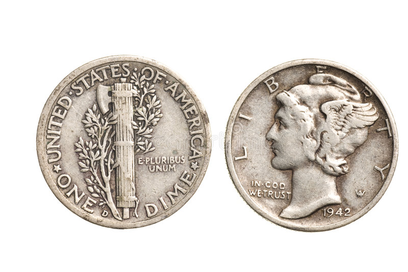 Download Antique Silver Dime Isolated Stock Photo - Image: 8286020