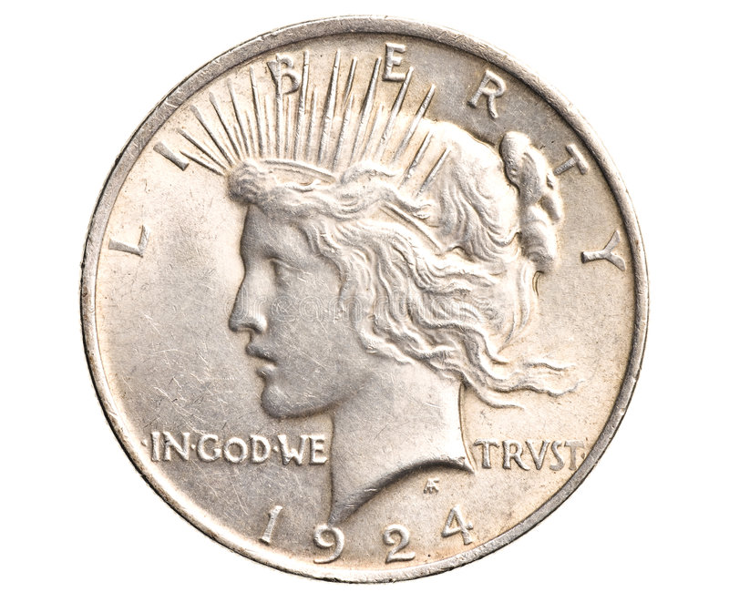 Download Antique Silver Dollar Isolated Stock Image - Image: 8347971