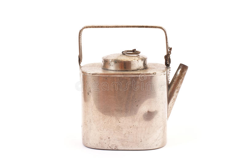 Antique silver kettle. Isolated on white royalty free stock photo
