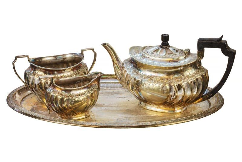 Antique silver tea set isolated on white royalty free stock photos