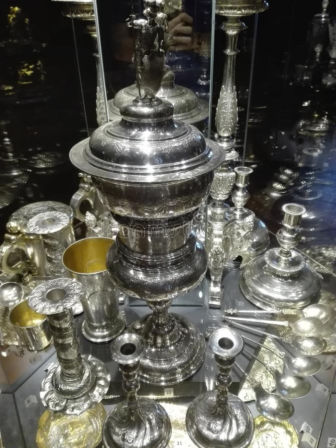 Antique silverware. At the Royal Castle in Warsaw stock photography