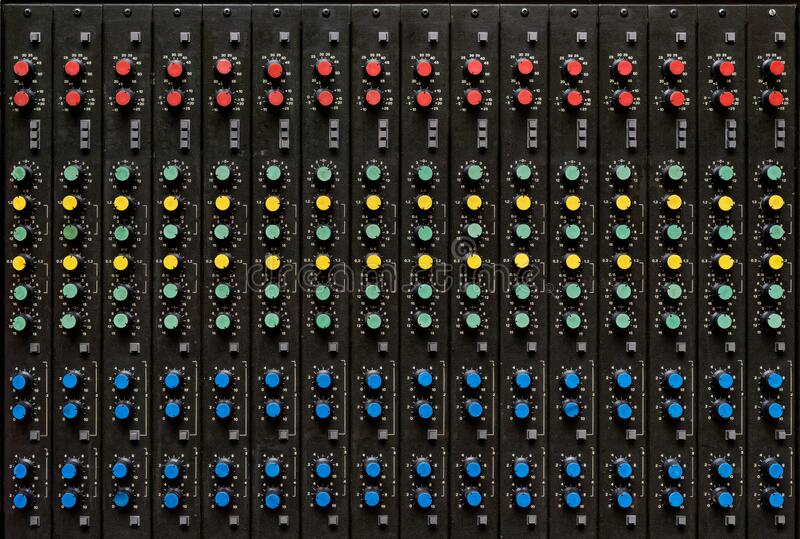 Antique sound mixing console royalty free stock photography