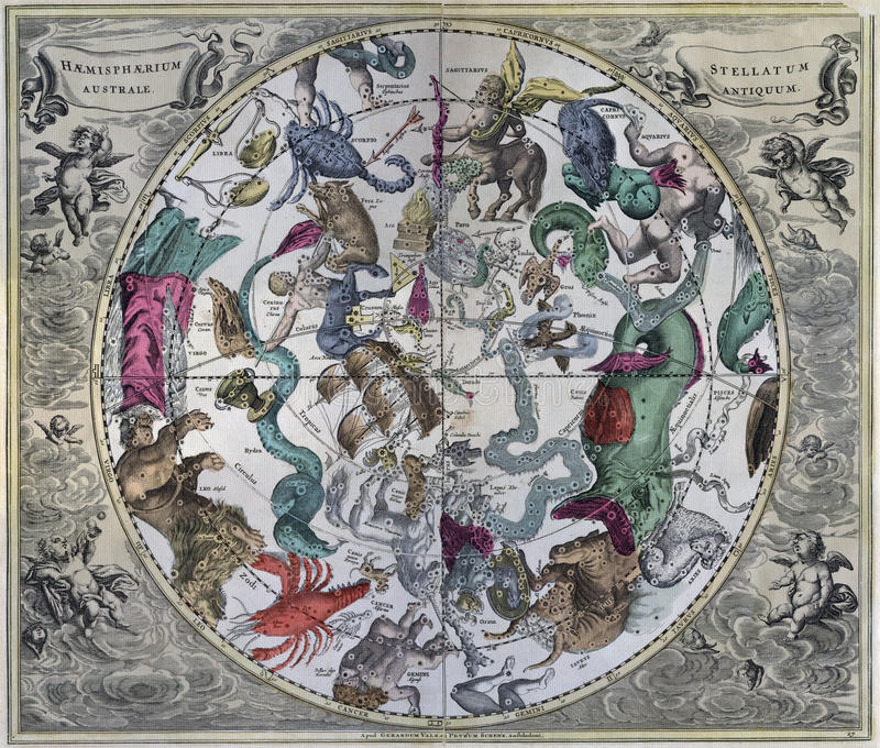 Vintage Southern Astronomical Celestial Map. Vintage Southern Celestial Hemisphere of the Universe royalty free stock photography