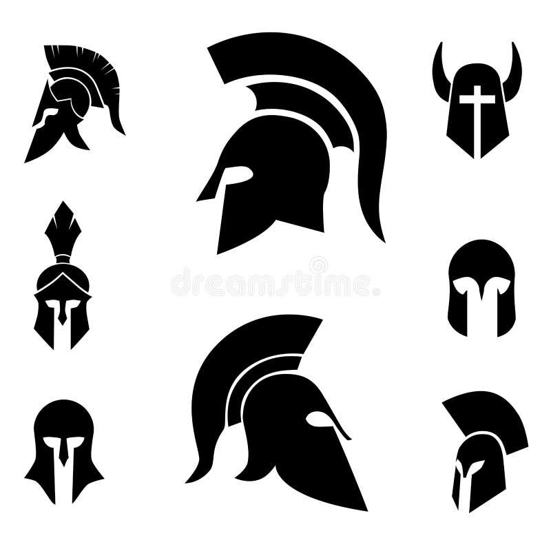 Antique, spartiate, guerrier, casque de soldat illustration de vecteur