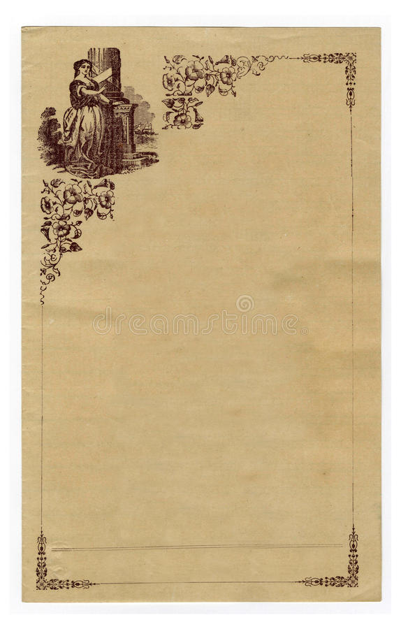 Download Antique Stationary Embellished With Pretty Girl Stock Images - Image: 12452444