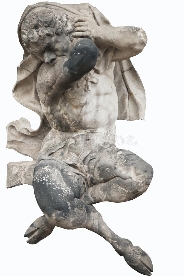 Satyr Bronze Statue In Neptune Fountain In Florence Stock