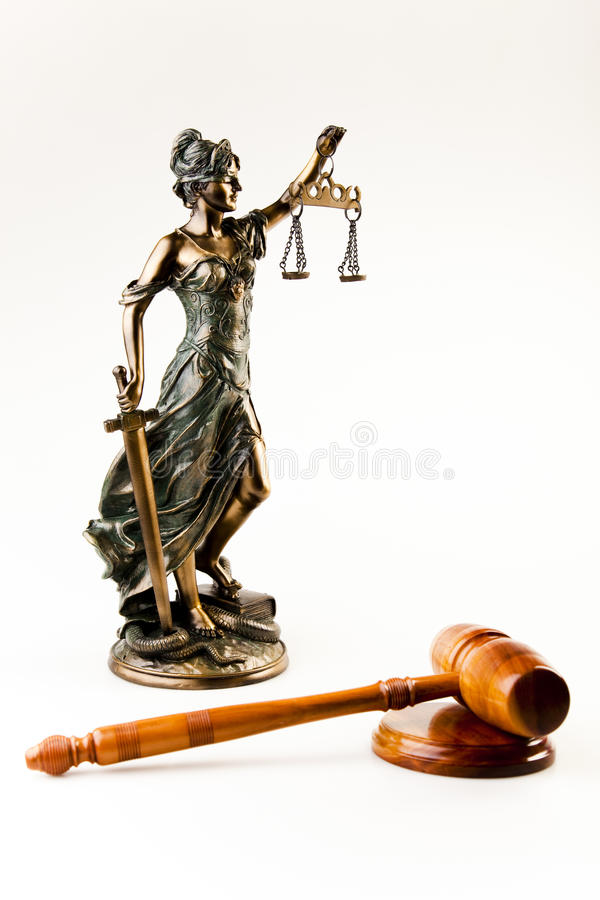 Antique statue of justice. Law and justice concept in studio royalty free stock image