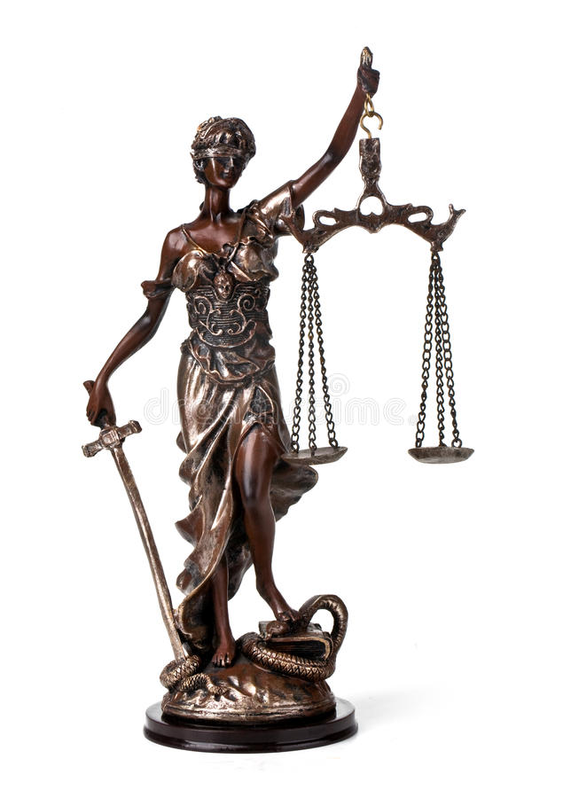 Antique Statue of justice. A picture of a Themis statue standing over whitek background stock photos