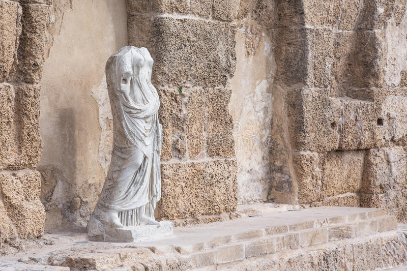 Antique statue in National Park, Caesarea, Israel.  royalty free stock photo