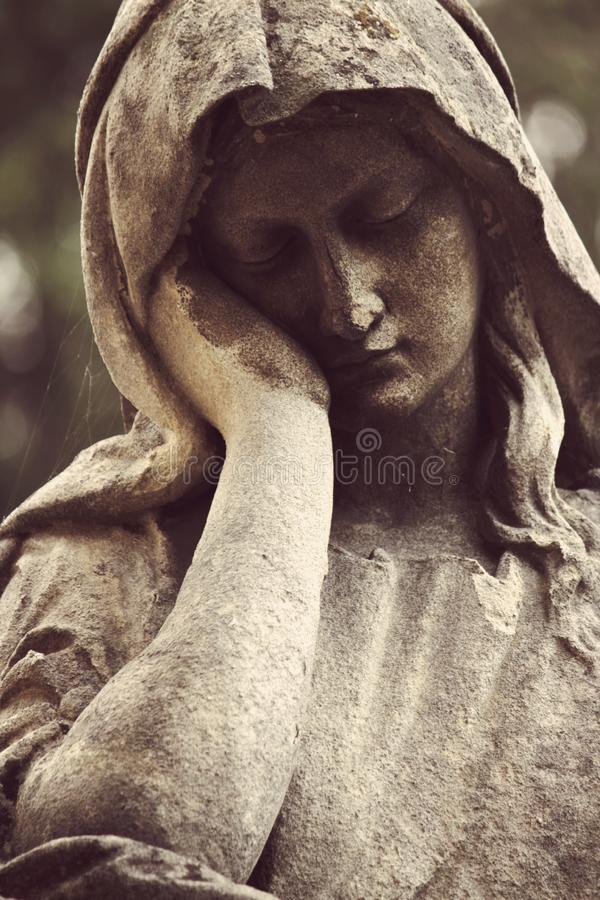 Antique statue of the Virgin Mary religion, faith, holy stock image